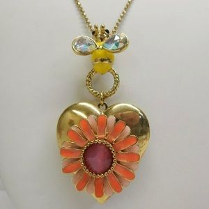 Vintage Betsey Johnson Bee Flower Locket Necklace